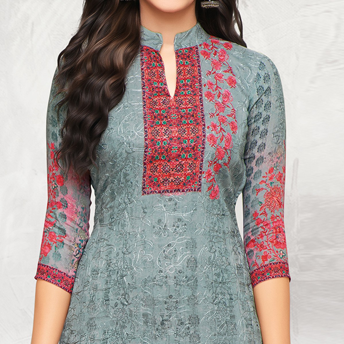 Trendy Gray Colored Partywear Printed Cotton Palazzo Suit