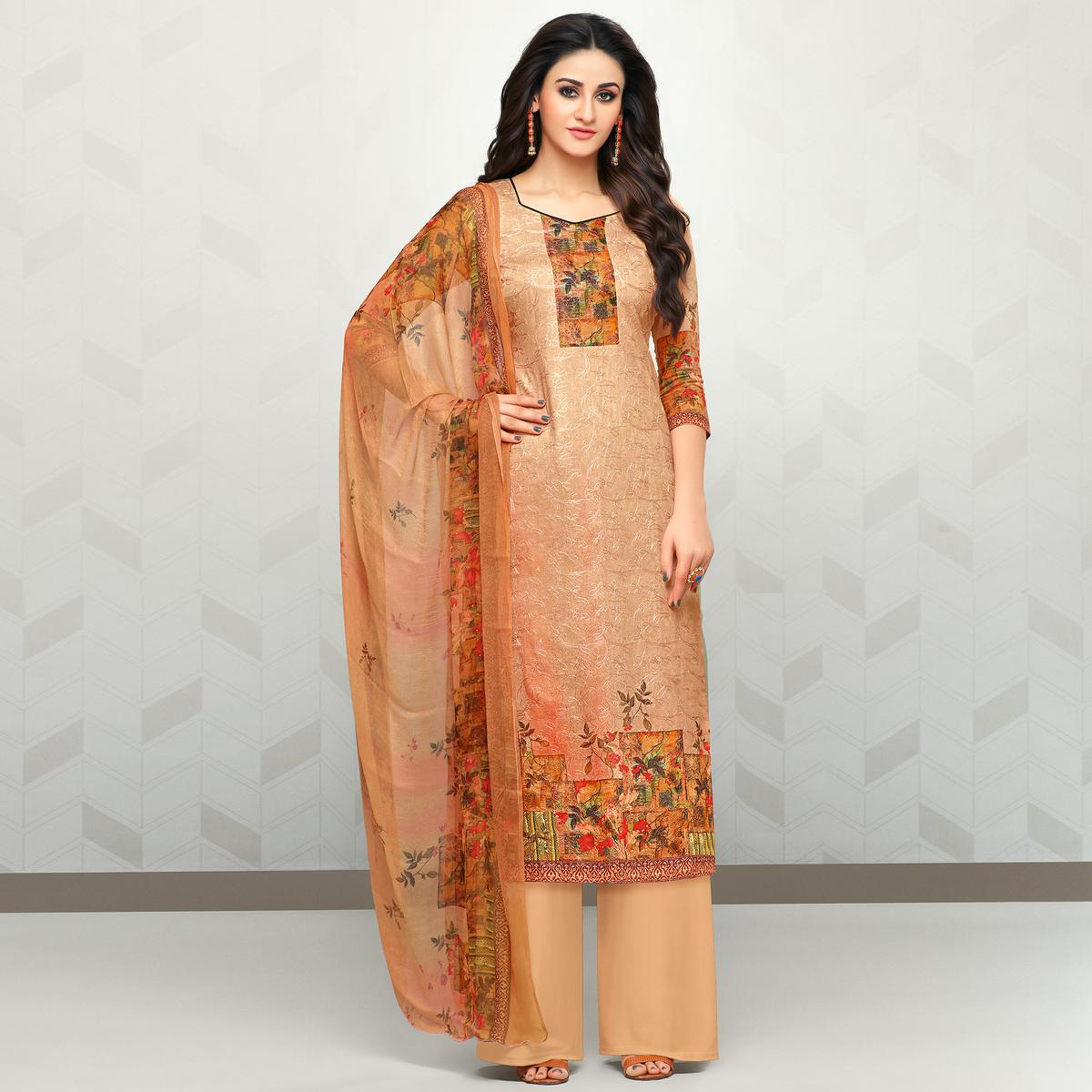 Excellent Pastel Peach Colored Partywear Printed Cotton Palazzo Suit