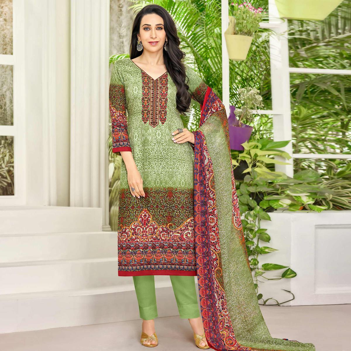 Graceful Green Colored Party Wear Embroidered Satin Dress Material