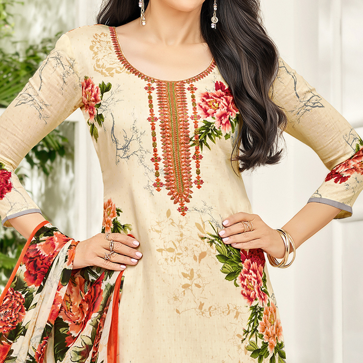 Lovely Cream Colored Party Wear Embroidered Satin Dress Material