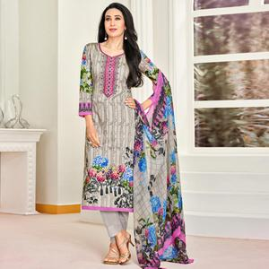 Pretty Light Grey Colored Party Wear Embroidered Satin Dress Material