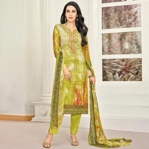 Charming Olive Green Colored Party Wear Embroidered Satin Dress Material