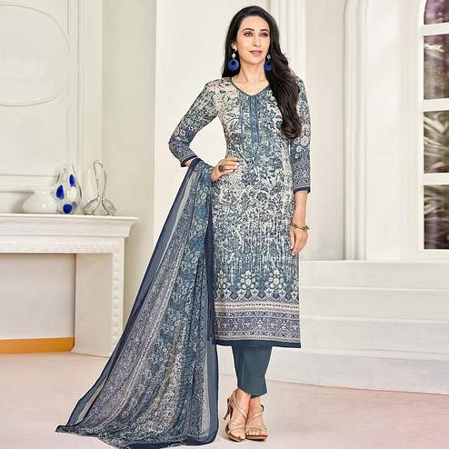 Ravishing Blue Colored Party Wear Embroidered Satin Dress Material