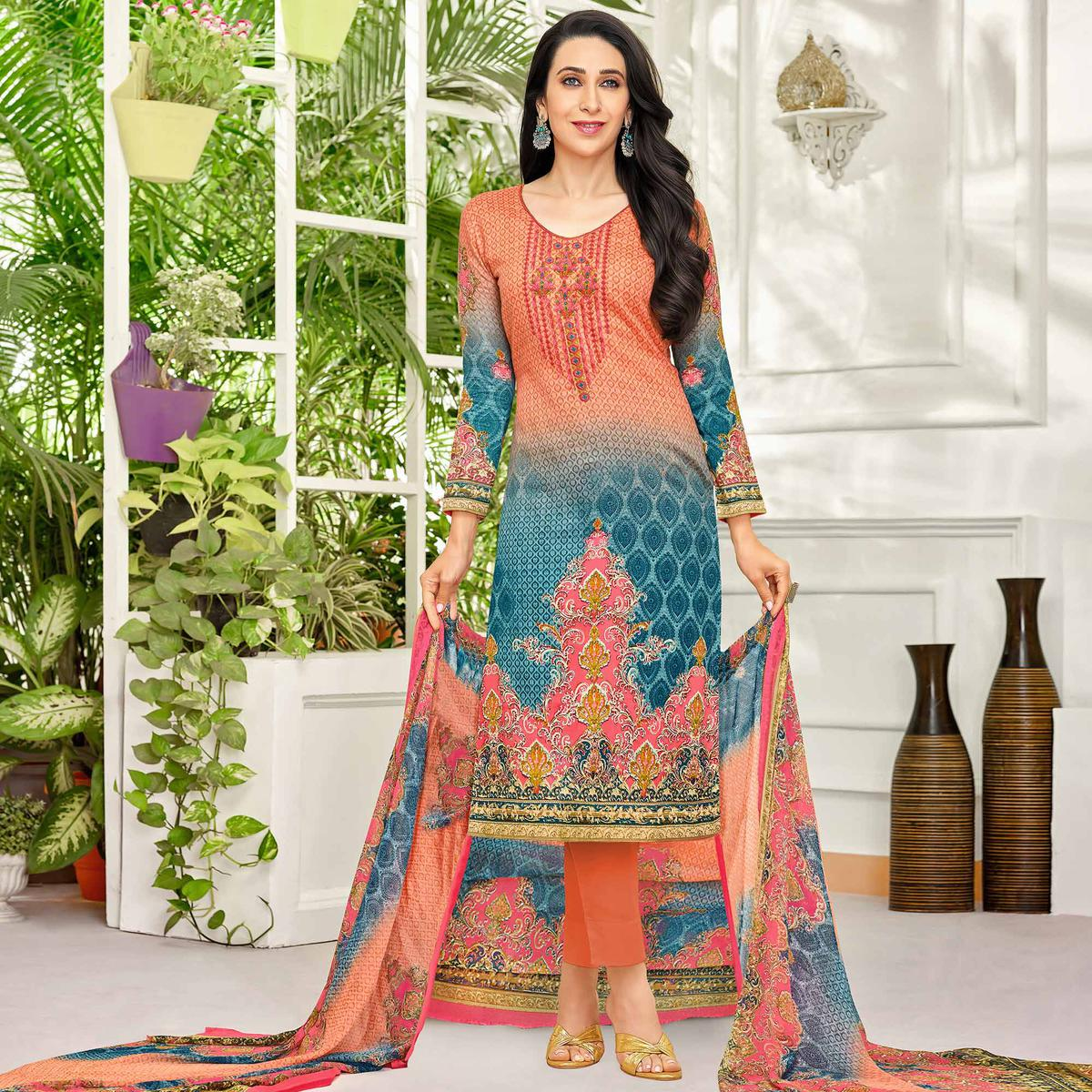 Delightful Peach-Blue Colored Party Wear Embroidered Satin Dress Material