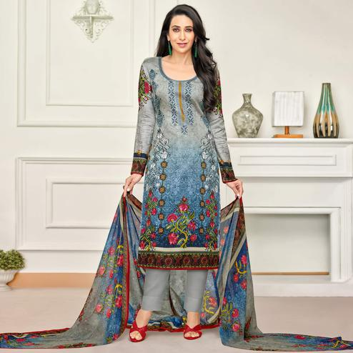 Stunning Grey-Blue Colored Party Wear Embroidered Satin Dress Material