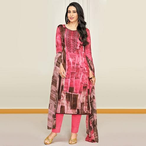 Classy Pink Colored Party Wear Embroidered Satin Dress Material