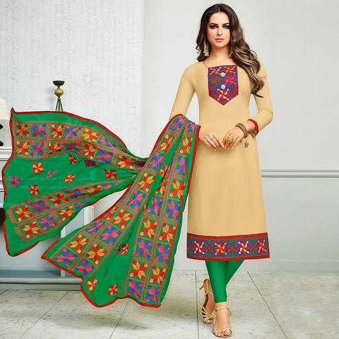 Fantastic Beige Colored Partywear Embroidered Cotton Dress Material