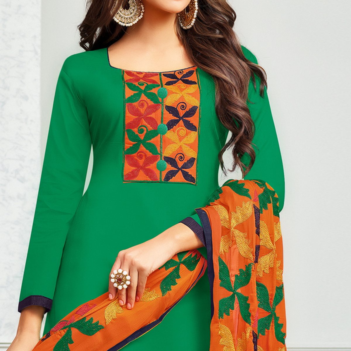 Fab Green Colored Partywear Embroidered Cotton Dress Material
