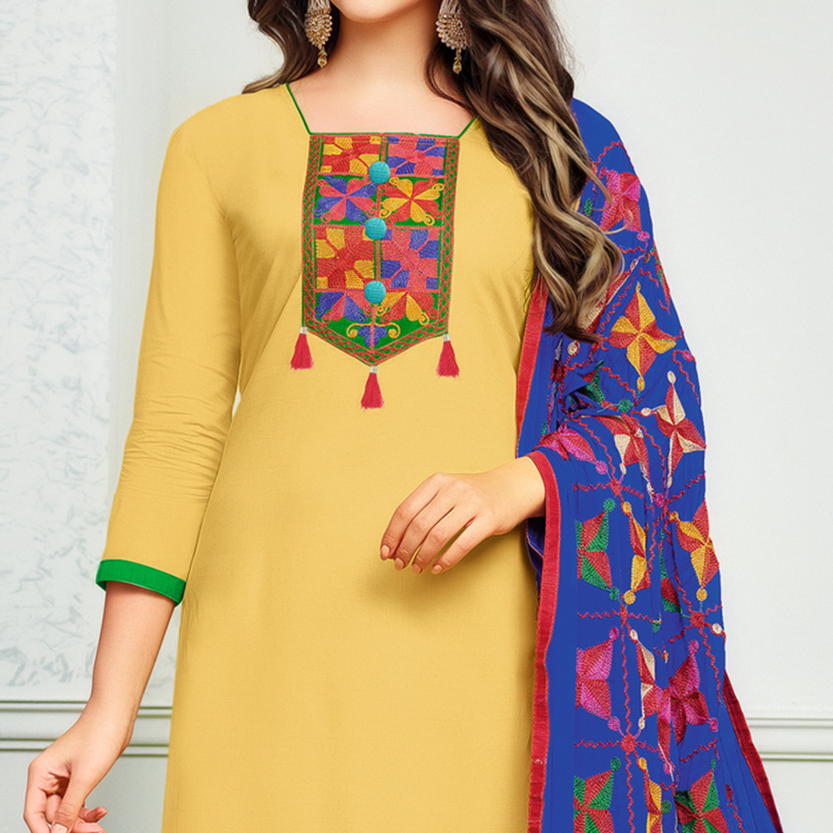 Appealing Light Yellow Colored Partywear Embroidered Cotton Dress Material