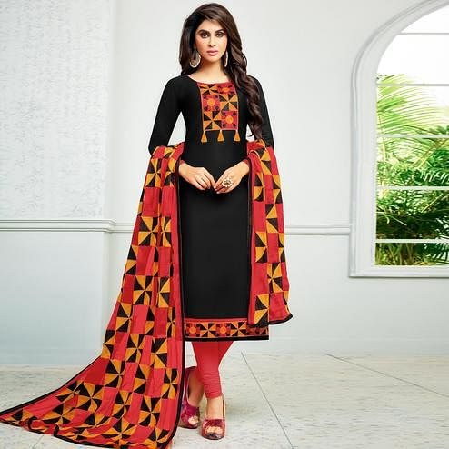 Stunning Black Colored Partywear Embroidered Cotton Dress Material