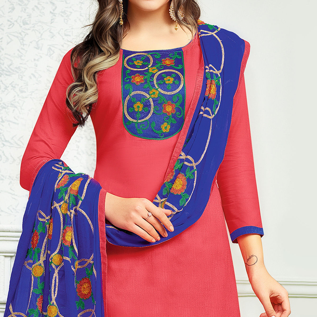 Pretty Pink Colored Partywear Embroidered Cotton Dress Material