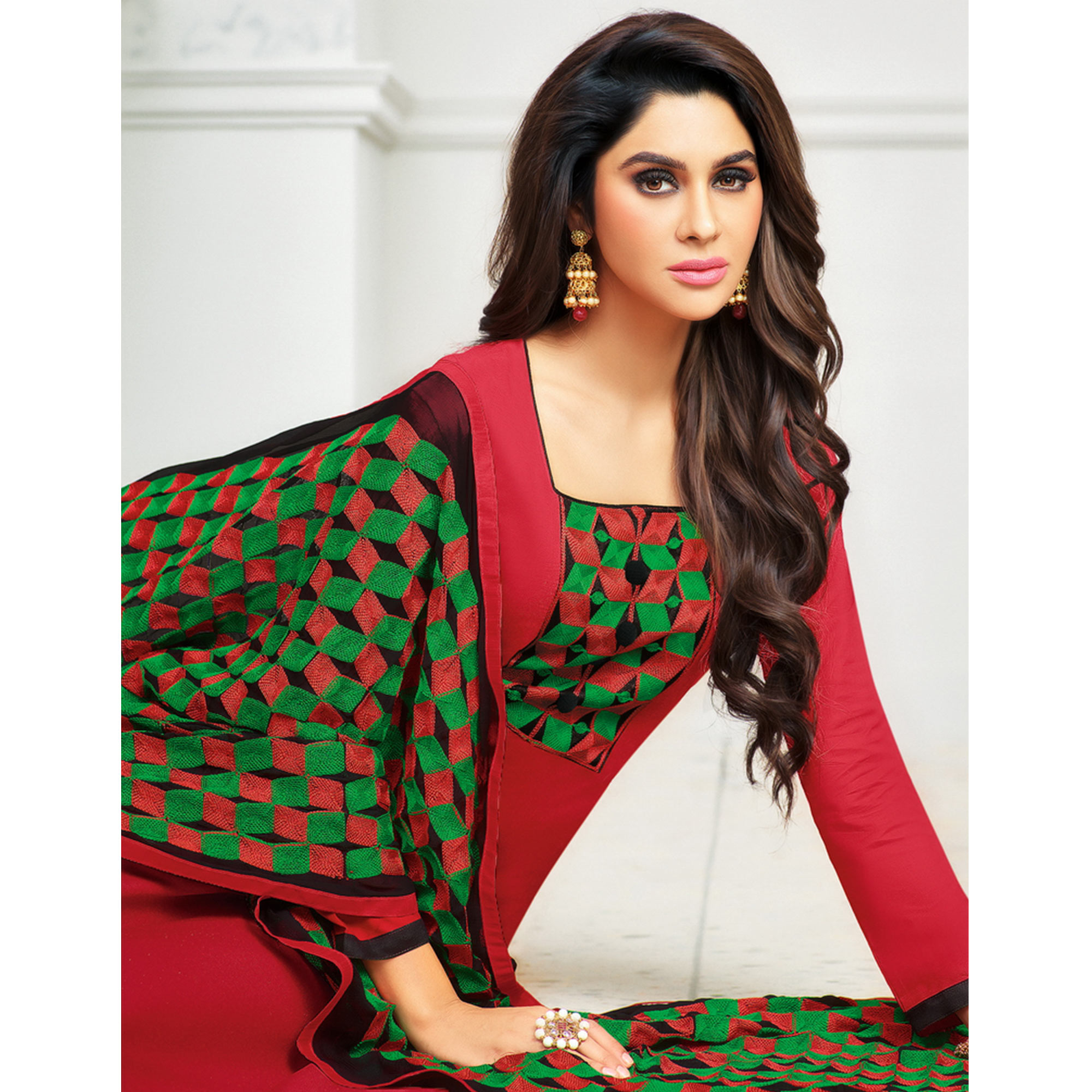 Beautiful Red Colored Partywear Embroidered Cotton Dress Material