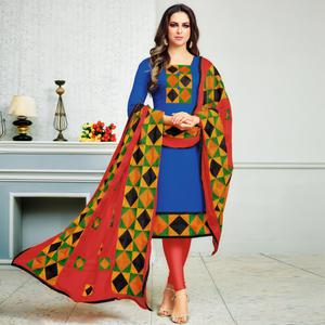 Glowing Blue Colored Partywear Embroidered Cotton Dress Material