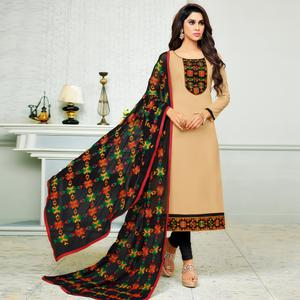 Observable Beige Colored Partywear Embroidered Cotton Dress Material
