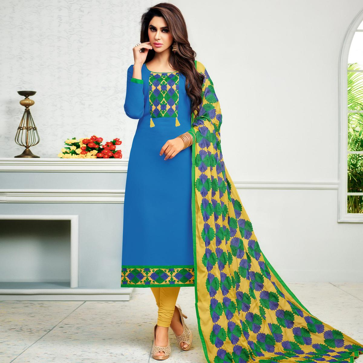 Graceful Blue Colored Partywear Embroidered Cotton Dress Material