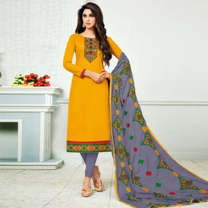 Gratifying Yellow Colored Partywear Embroidered Cotton Dress Material