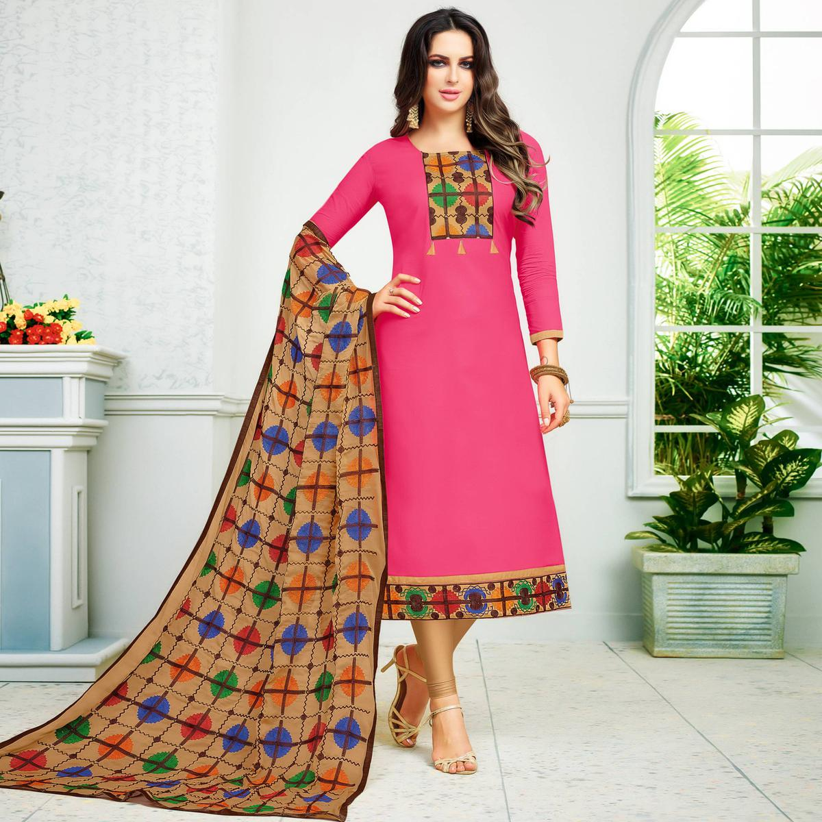 Vivid Pink Colored Partywear Embroidered Cotton Dress Material