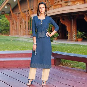 Jazzy Blue Colored Party Wear Silk Cotton Kurti