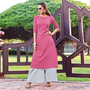 Appealing Pink Colored Party Wear Cotton Silk Kurti