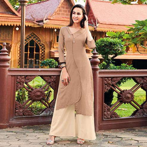 Groovy Beige Colored Party Wear Cotton Silk Kurti