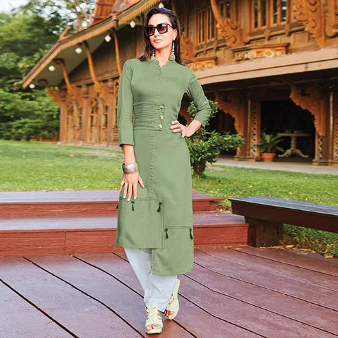 Prominent Olive Green Colored Party Wear Cotton Silk Kurti