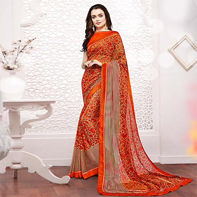 Orange Georgette Printed Partywear Saree