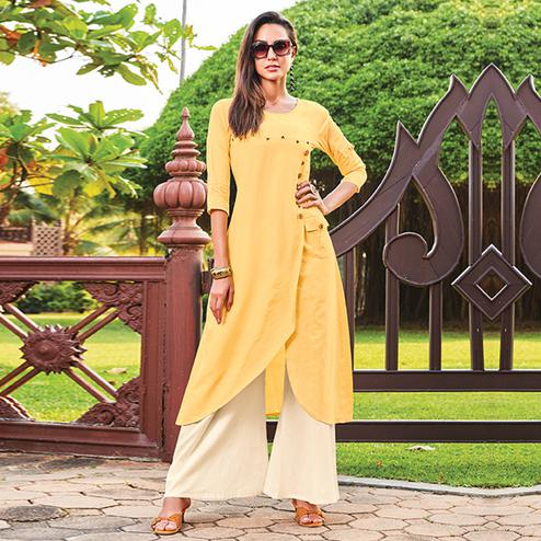 Adorning Yellow Colored Party Wear Cotton Silk Kurti