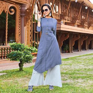 Captivating Dark Grey Colored Party Wear Cotton Silk Kurti