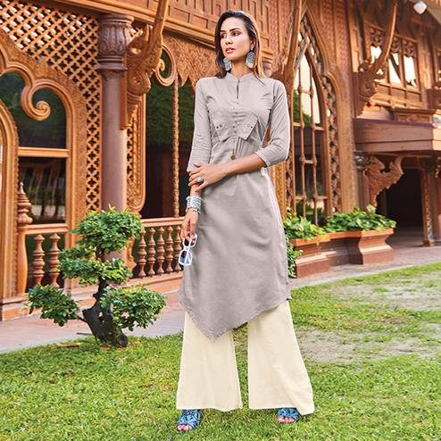 Glowing Light Grey Colored Party Wear Cotton Silk Kurti