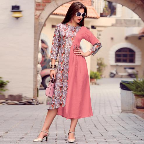 Imposing Pink Colored Party Wear Printed Cotton Satin Kurti