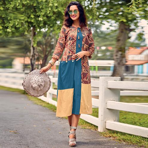 Ideal Blue Colored Party Wear Printed Cotton Satin Kurti