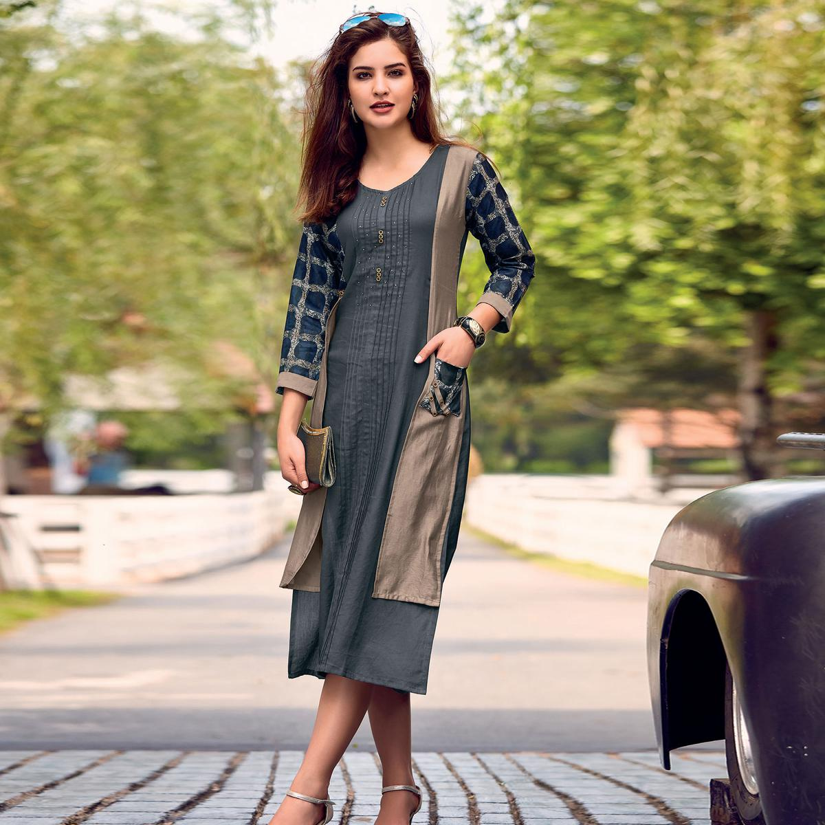 Engrossing Dark Grey Colored Party Wear Printed Cotton Satin Kurti