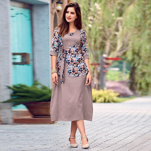 Exceptional Iris Mauve Colored Party Wear Printed Cotton Satin Kurti