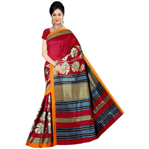 Adorning Red Colored Festive Wear Printed Bhagalpuri Silk Saree