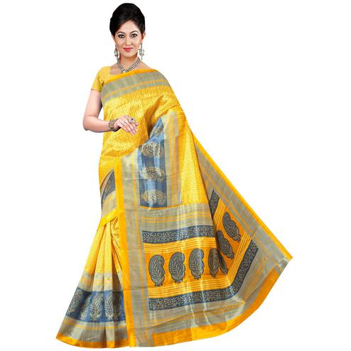 Pleasant Yellow Colored Festive Wear Printed Bhagalpuri Silk Saree