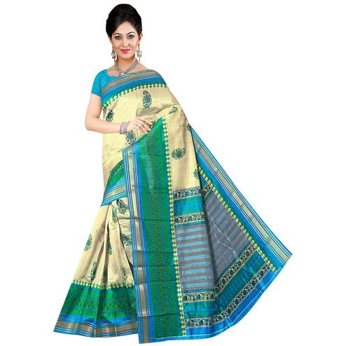 Appealing Cream-Sky Blue Colored Festive Wear Printed Art Silk Saree