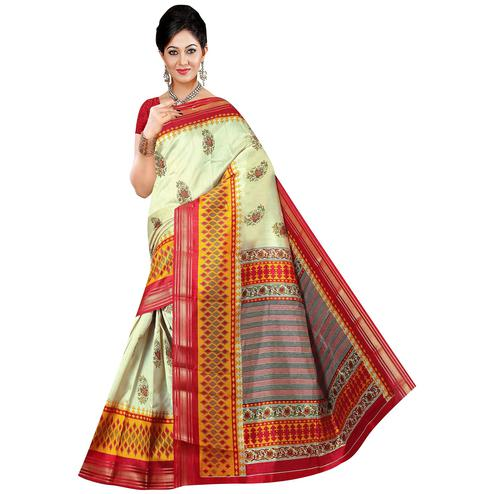 Impressive Cream-Red Cream Colored Festive Wear Printed Art Silk Saree