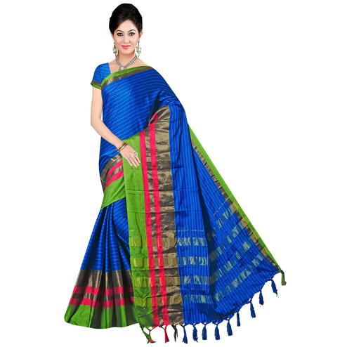 Glowing Blue Colored Festive Wear Printed Art Silk Saree