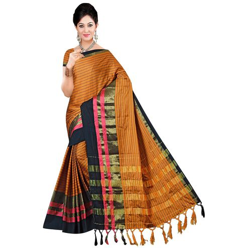 Unique Brown Colored Festive Wear Printed Art Silk Saree