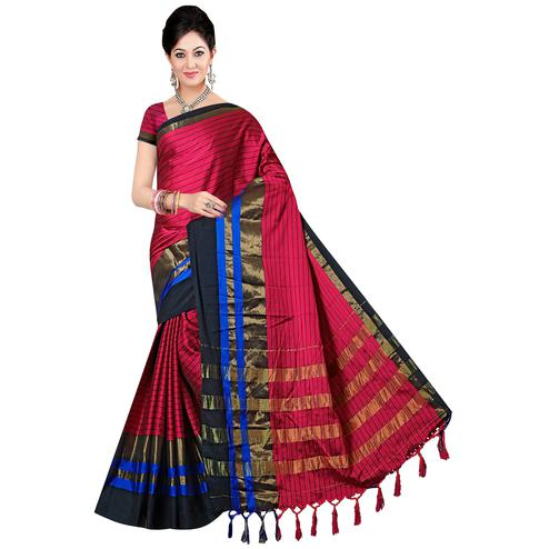 Different Dark Pink Colored Festive Wear Printed Art Silk Saree