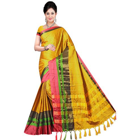 Traditional Yellow Colored Festive Wear Printed Art Silk Saree