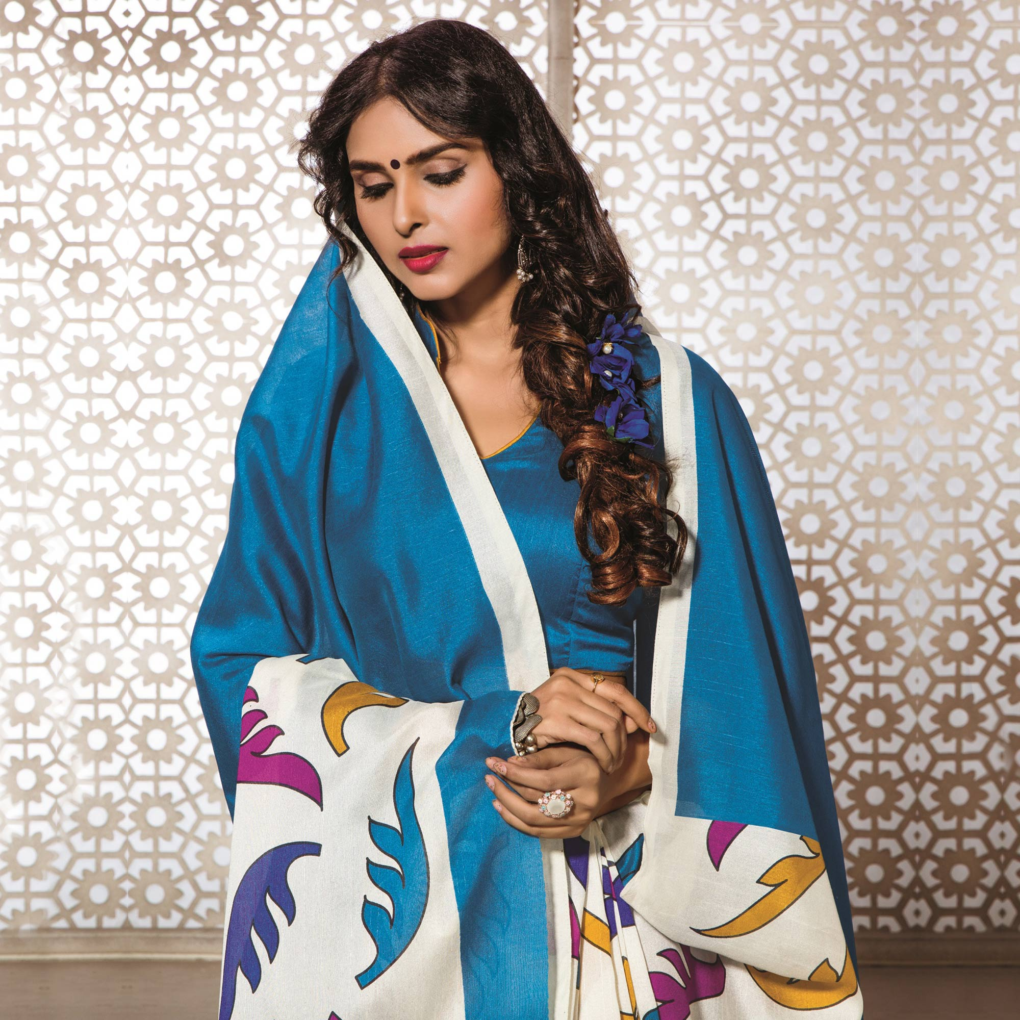 White - Blue Bhagalpuri Printed Saree