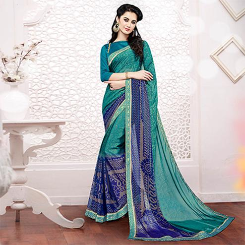 Green Georgette Printed Partywear Saree