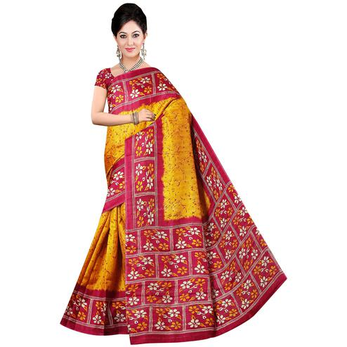 Classy Yellow-Maroon Colored Festive Wear Printed Manipuri Silk Saree