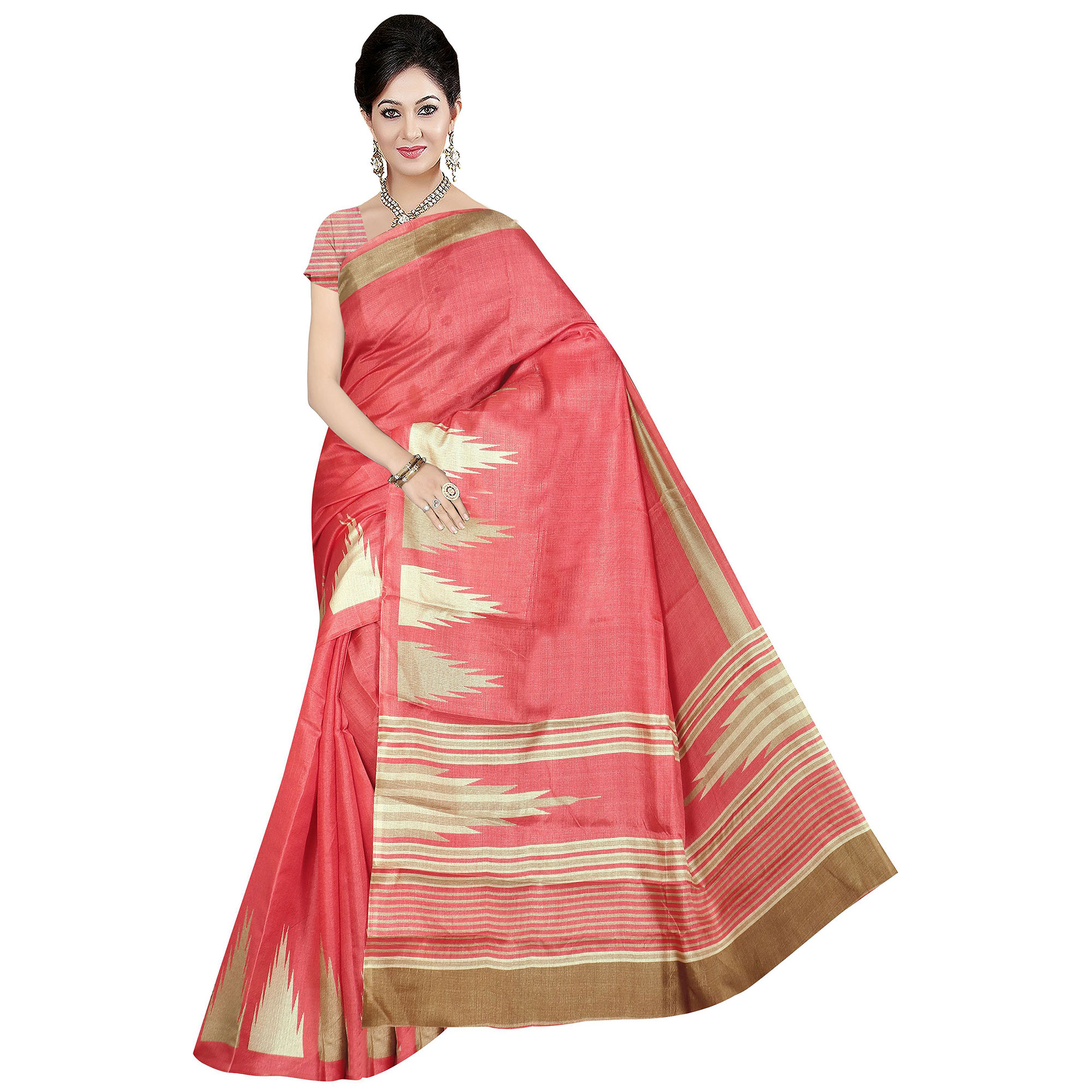 Excellent Coral Colored Festive Wear Printed Cotton Saree