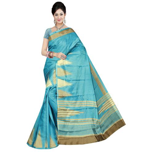 Blooming Light Sky Blue Colored Festive Wear Printed Cotton Saree