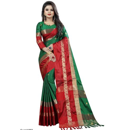 Beautiful Green-Red Colored Festive Wear Cotton Silk Saree