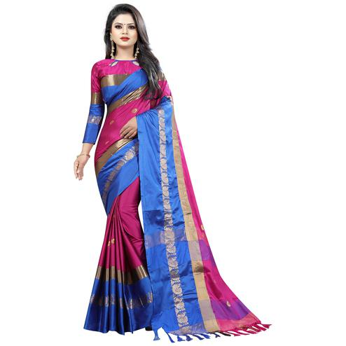 Adorning Pink-Blue Colored Festive Wear Cotton Silk Saree