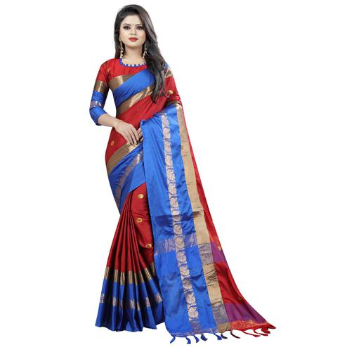 Amazing Red-Blue Colored Festive Wear Cotton Silk Saree