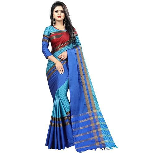 Mesmeric Sky Blue Colored Festive Wear Cotton Saree